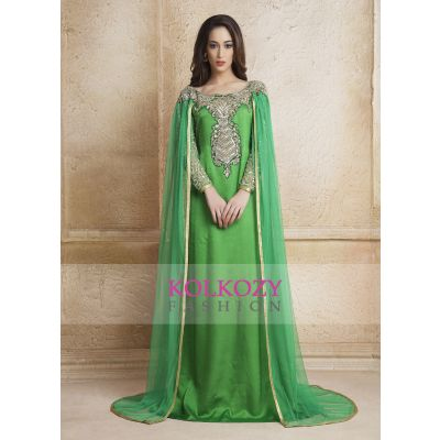 Green Color Designer  Handmade Arabic Long Sleeve Wedding Caftan