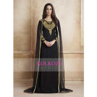 Black color Net Brasso  Arab Dubai Style kaftan With Veil