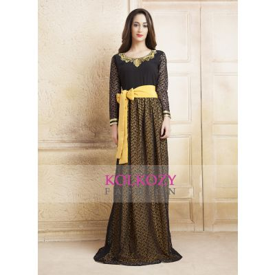 Yellow and Black color Net Brasso Thread Work Arab Dubai Style kaftan