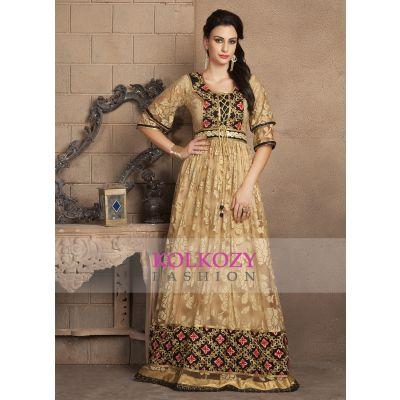 Beige gold Color Half Sleeve Designer Casual Maxi Dress