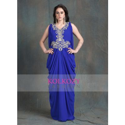 Blue color Sleeveless Kaftan Dress-Georgette Hand beaded Designer Kaftan