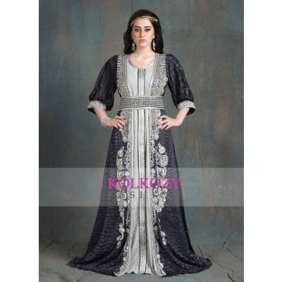 Gray Color designer brasso fabric Hand beaded Moroccan Party Wedding Kaftan