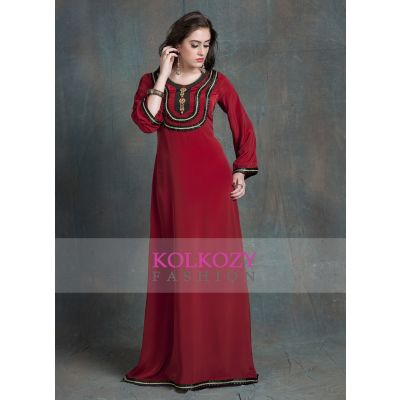 Evening Dress Maroon Color Arabic dubai party Abaya Dress