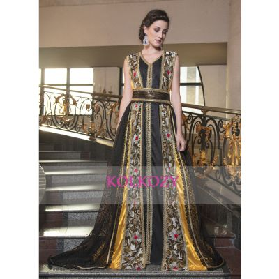Arabic Evening Dress With Net Brasso and Lace Work Yellow and Black Color Kaftan