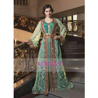 Moroccan Style Party Wear Kaftan Sea Green Color designer Rasal fabric Hand beaded Dress