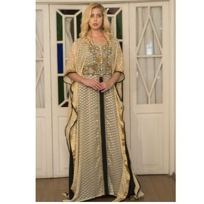 Beige and Black Kaftan Dress