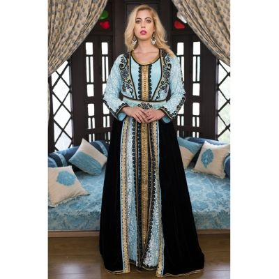 Aqua Blue and Black  Moroccan Wedding Kaftan With Thread Work
