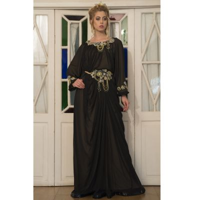 Black and Beige Embroidered Long Kaftan Dress