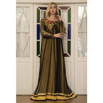 Gold Yellow Embroidery Full Sleeve Formal Maxi Dress