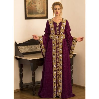 Violet Full Sleeve Moroccan Style Handmade Dress