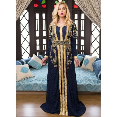Dark Blue Party Wear Style Moroccon Kaftan