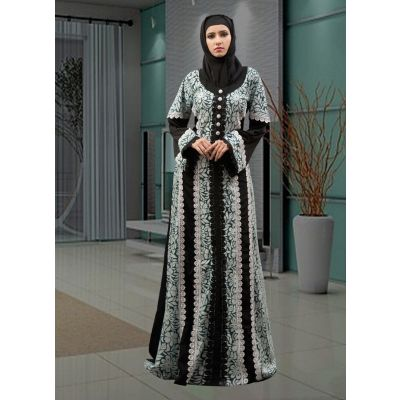 Partywear Dubai Abaya Black and Auqa Blue