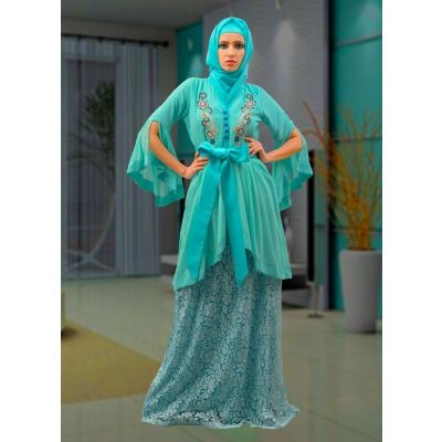 Maxi Abaya Aqua Blue Color