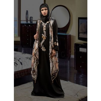 Long Sleeve Modest Abaya Black and Multicoloured  Color