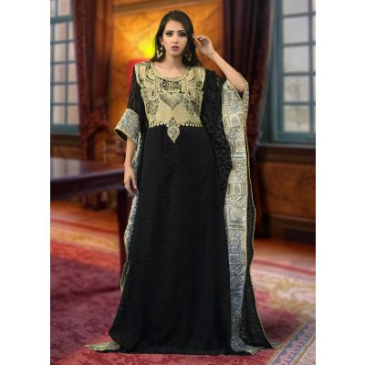 Arabic Muslim Black Color Abaya