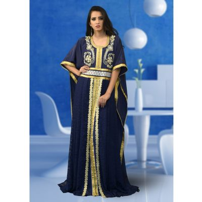 Embroidered  Work Formal Dark Blue Color Kaftan