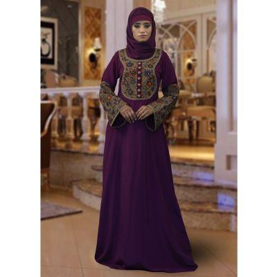 Modest Violet Abaya Kaftan