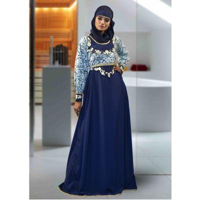 Long Sleeve Modest Abaya Blue Color
