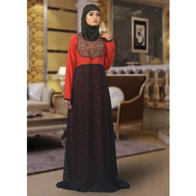 Red Maxi Abaya Dress