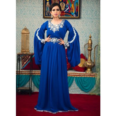 Arabic Muslim Kaftan Blue Color Caftan