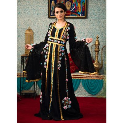 Black Color Party Wear Full Sleeve Morrocon Kaftan