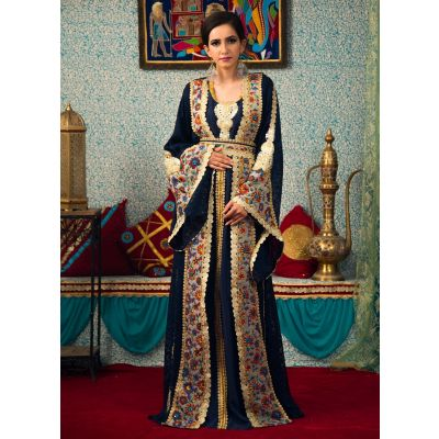 Dark Blue Color Embroidered Work Kaftan