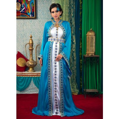 Dark Sea Green and White Color Morrcon Kaftan