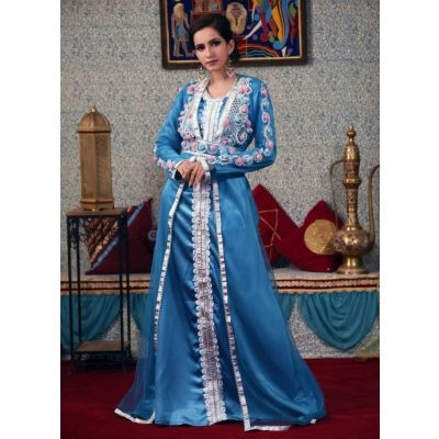 Firozi Color Hand Made Morrocon Kaftan
