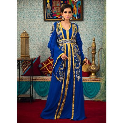 Blue Color Hand Beaded Morrocon Style Kaftan