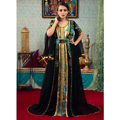 Multi Color and Black Color Morrocon Style Thread Work Kaftan