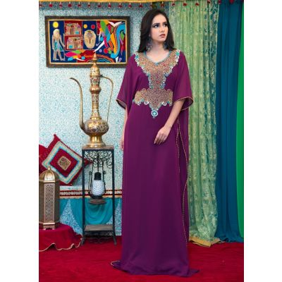Violet Color Georgette Hand Beaded Kaftan