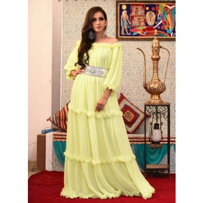 Lemon Yellow Color Abaya Maxi Dress