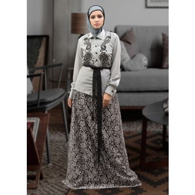 Dark Gray and Black Color Thread Work Abaya Dress