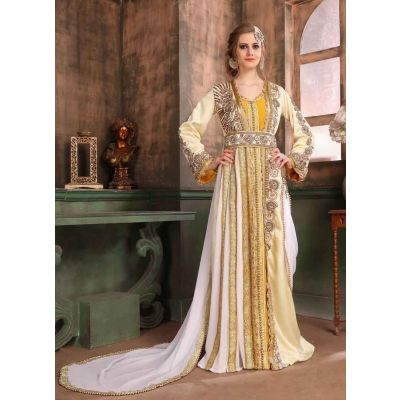 Yellow and White color Kaftan-Satin Kaftan
