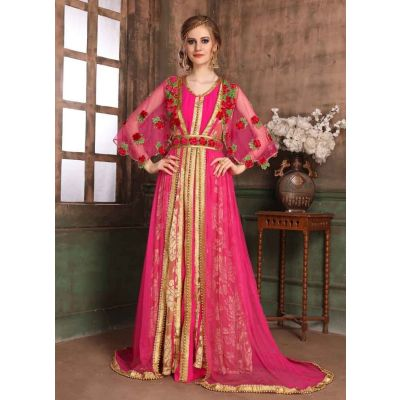 Beige and Pink color Kaftan-Brasso Kaftan