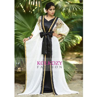 Impressive Black and Off White Jacket Style Brasso Kaftan - Free Size
