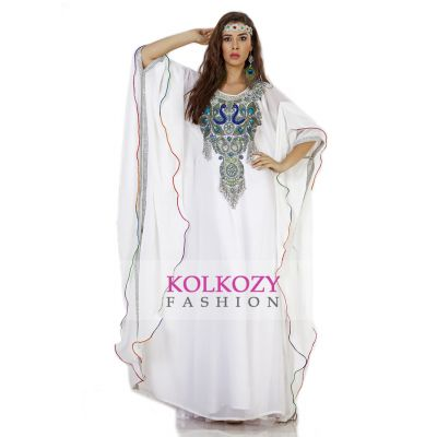 Beautiful White Peacock Embroidered Arabic Caftan