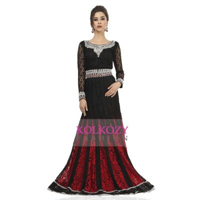 Gleaming Black & Red Wedding Kaftan