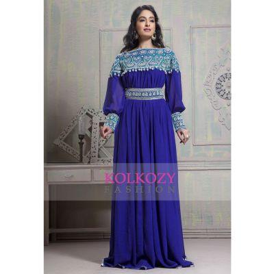 Tantalizing_Blue_color_Maxi_Full_sleeve_Kaftan_dress
