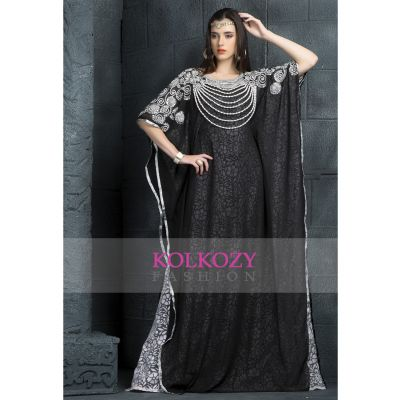 Chic Black and White color designer hand crafted kaftan