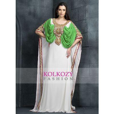 Scintillating Off White and Green handmade Designer Kaftan