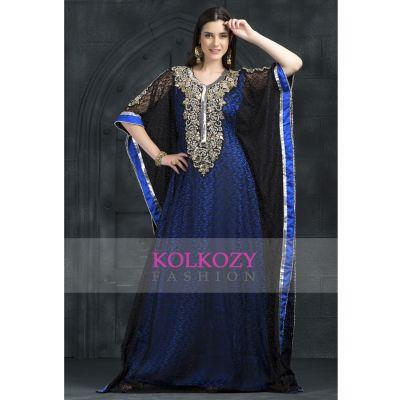 Exclusive Self printed Black and Blue all over handwork Kaftan