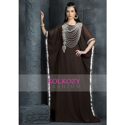 Exquisite Brown Traditional Embroidered Kaftan