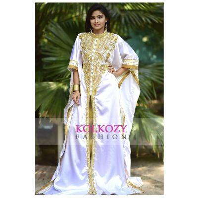 Smart White & Gold Color Designer Arabic Caftan Dress