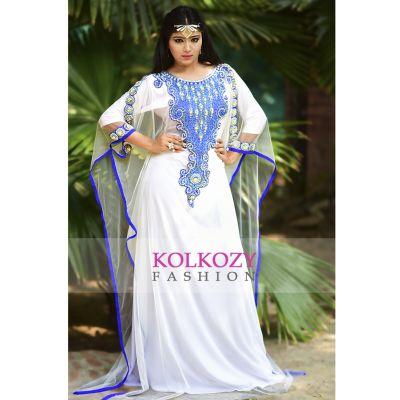 Scintillating White handmade Designer Kaftan