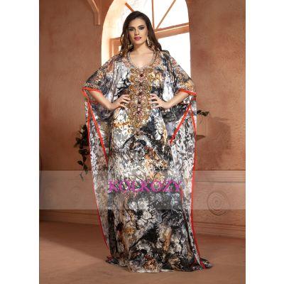 Multi Color Hand beaded Kaftan Arabic Evening Dress