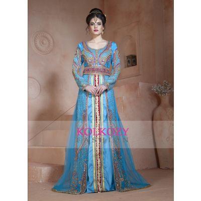 Ferozi and Dark Pink Color Designer Partywear Dubai Dress Moroccan Style Arabic Long Sleeve Wedding Caftan