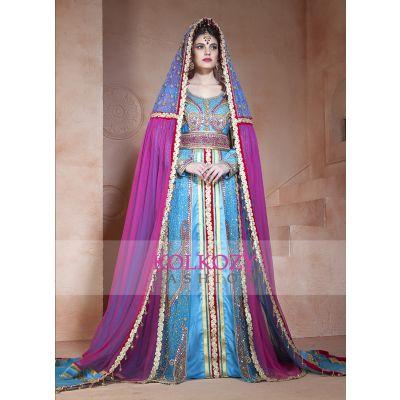 Ferozi and Dark Pink Color Designer  Handmade Arabic  Moroccan  muslim Long Sleeve Wedding Caftan With Vail