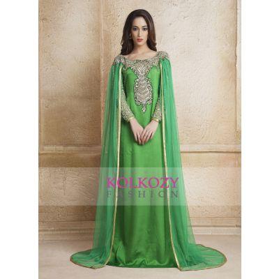 Green Color Designer  Handmade Arabic  Moroccan  muslim Long Sleeve Wedding Caftan With Vail