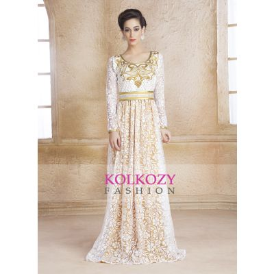 White, Gold color kaftan Arabic Evening Dress with Net Brasso and Thread Work